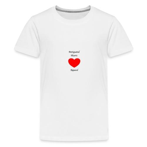 Antiquated Hearts Gothic Writing - Teenage Premium T-Shirt