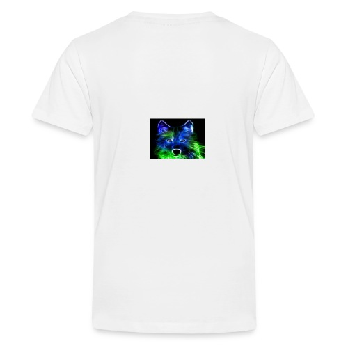 green and blue wolf - Teenage Premium T-Shirt