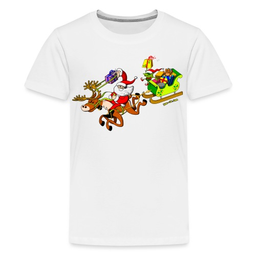 Santa's Gift Delivery with a Slingshot - Teenage Premium T-Shirt