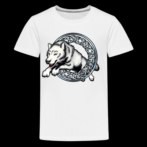 Leaping Wolf - Teenage Premium T-Shirt