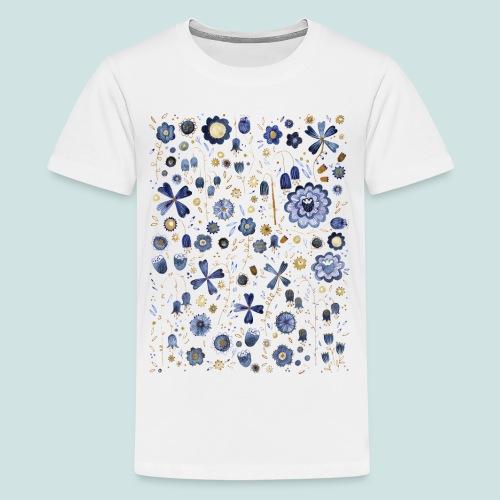 Indigo Flower Watercolour Mashup - Teenage Premium T-Shirt