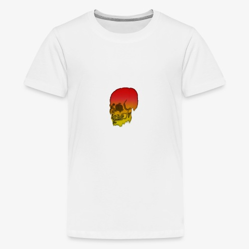 Red and yellow skull melting - Teenage Premium T-Shirt