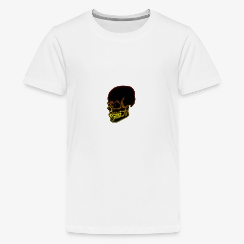 Funky red and yellow neon skull - Teenage Premium T-Shirt