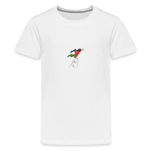 Hvid hættetrøje - Teenager premium T-shirt