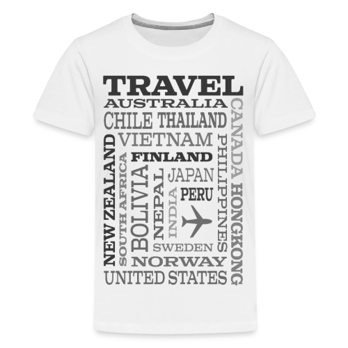 Travel Places Gray design - Teinien premium t-paita