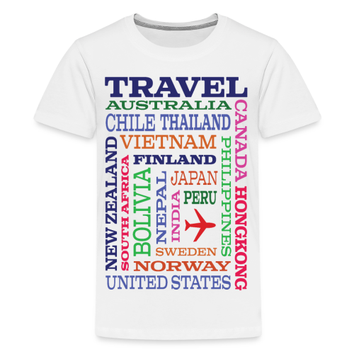 Travel Places design - Teinien premium t-paita