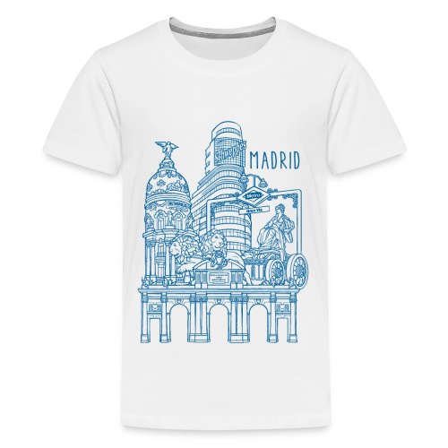 MADRID COLLAGE AZUL - Camiseta premium adolescente