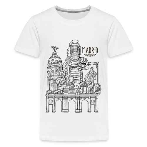 MADRID COLLAGE NEGRO - Camiseta premium adolescente