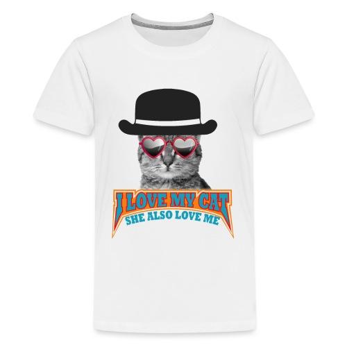 Ich liebe meine Katze und meine Katze liebt mich - Teenager Premium T-Shirt