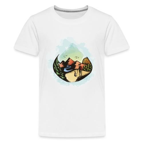 Hund Spaziergang Frauchen Herrchen Malerei - Teenager Premium T-Shirt