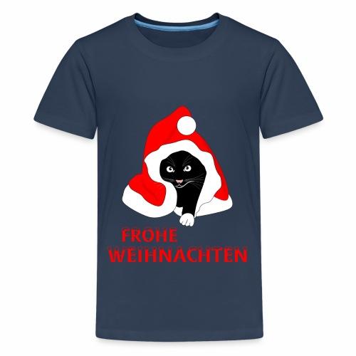 Frohe Weihnachten - Schwarze Katze - Teenage Premium T-Shirt