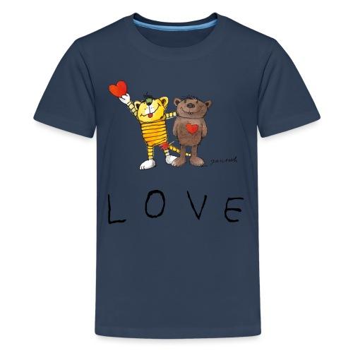 Janosch LOVE Schiftzug Tiger und Bär - Teenager Premium T-Shirt