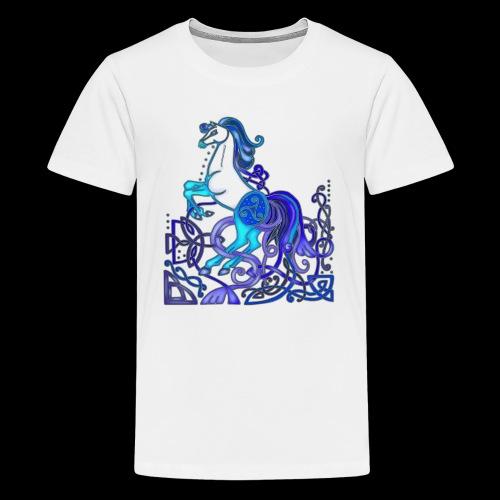 Celtic Horse Silver Blue - Teenage Premium T-Shirt