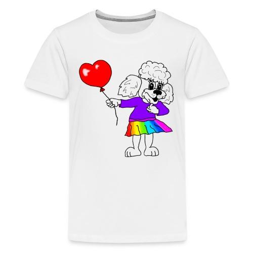 Pudelmädchen mit Herz-Luftballon - Teenager Premium T-Shirt
