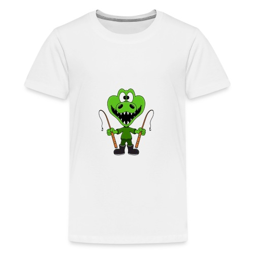 Lustiges Krokodil - Angeln - Angler - Fun - Teenager Premium T-Shirt