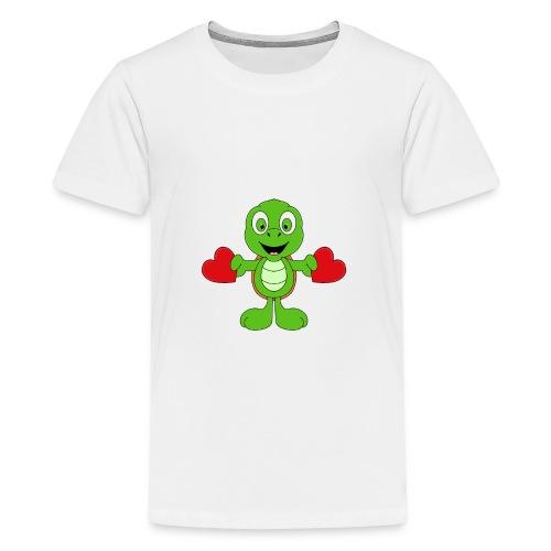 Lustige Schildkröte - Turtle - Herzen - Liebe - Teenager Premium T-Shirt