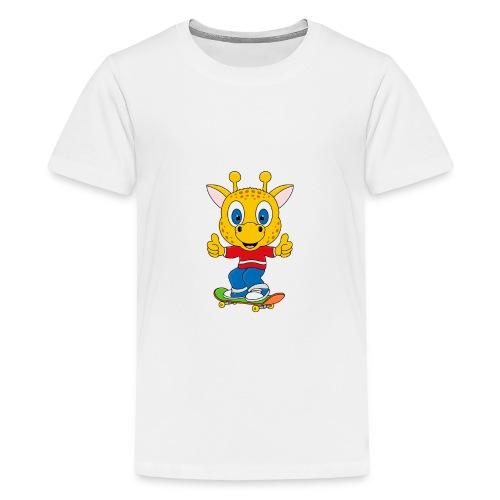 Lustige Giraffe - Skateboard - Sport - Fun - Teenager Premium T-Shirt