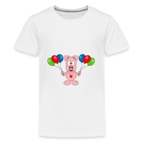 Lustiges Schwein - Luftballons - Geburtstag - Kids - Teenager Premium T-Shirt