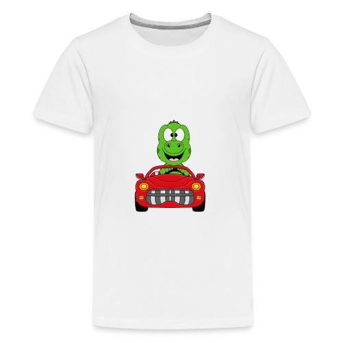 Lustiger Gecko - Echse - Auto - Cabrio - Car - Fun - Teenager Premium T-Shirt