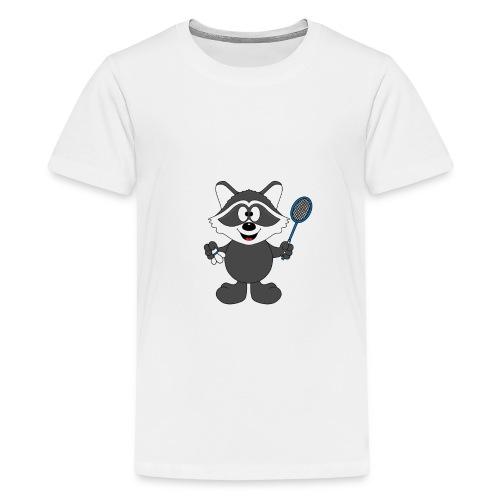 Lustiger Waschbär - Federball - Badminton - Teenager Premium T-Shirt