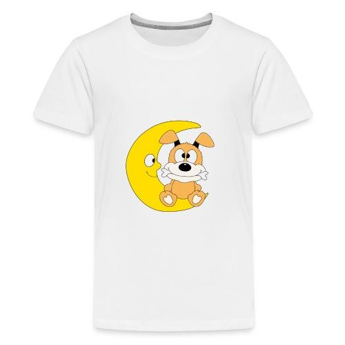 Lustiger Hund - Dog - Knochen - Mond - Tier - Teenager Premium T-Shirt
