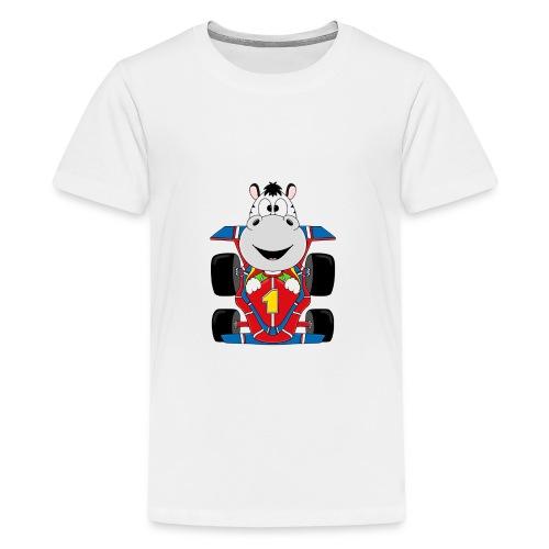 Lustiges Zebra - Rennauto - Auto - Nummer 1 - Teenager Premium T-Shirt
