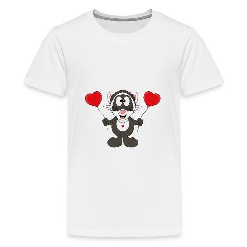 Lustiges Frettchen - Herzen - Luftballons - Tier - Teenager Premium T-Shirt