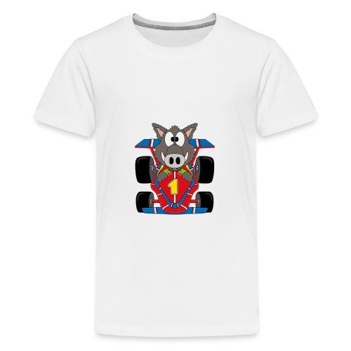 Lustiges Wildschwein - Rennwagen - Auto - Tier - Teenager Premium T-Shirt
