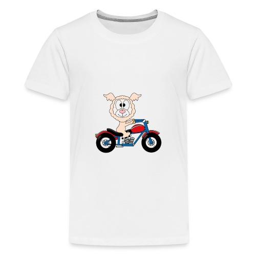 Lustiges Lama - Alpaka - Motorrad - Biker - Fun - Teenager Premium T-Shirt