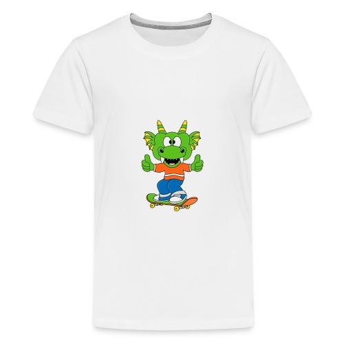Lustiger Drache - Dragon - Skateboard - Sport - Teenager Premium T-Shirt