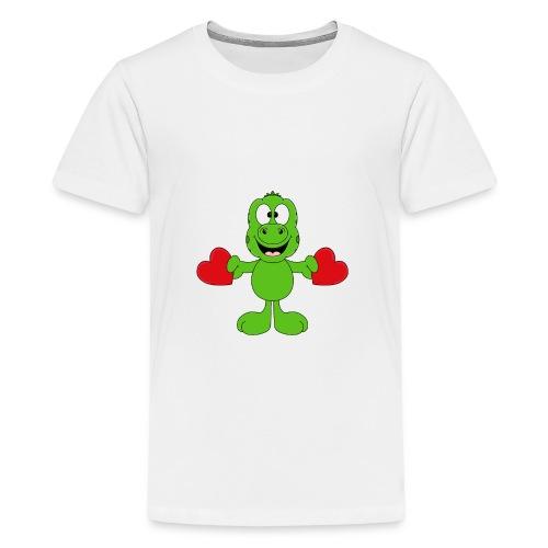 Lustiger Gecko - Echse - Herzen - Liebe - Love - Teenager Premium T-Shirt