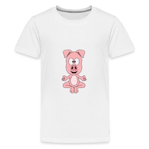 Lustiges Schwein - Yoga - Chill - Relax - Tier - Teenager Premium T-Shirt