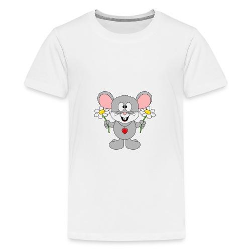 Maus - Blumen - Garten - Gärtner - Liebe - Love - Teenager Premium T-Shirt