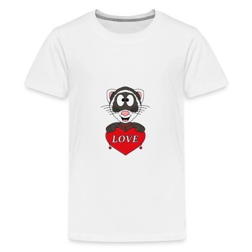 Frettchen - Herz - Liebe - Love - Tier - Kind - Teenager Premium T-Shirt