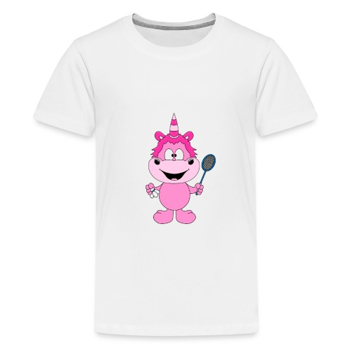 Einhorn - Badminton - Federball - Sport - Kind - Teenager Premium T-Shirt
