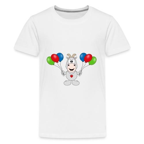Ziege - Luftballons - Geburtstag - Party - Tier - Teenager Premium T-Shirt