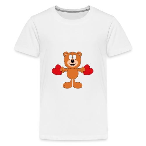 Teddy - Bär - Herzen - Liebe - Love - Tier - Teenager Premium T-Shirt