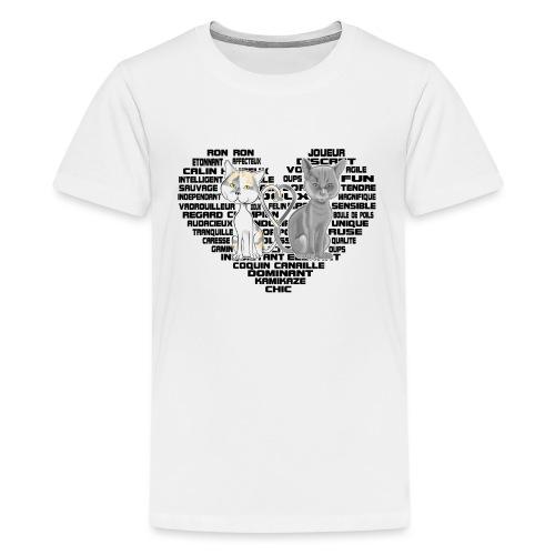 Cœur de chat noir - T-shirt Premium Ado