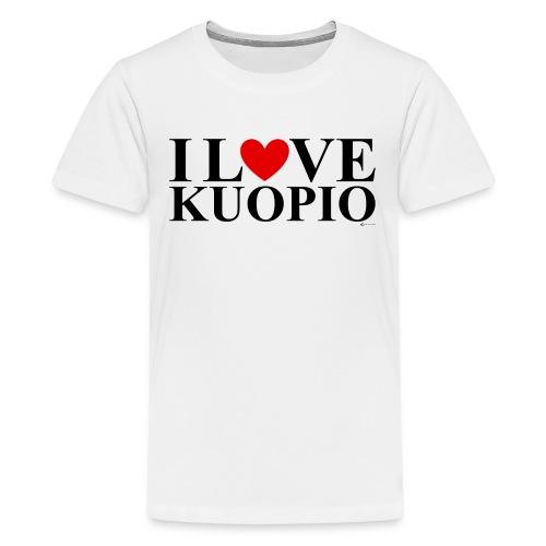 I LOVE KUOPIO (koko teksti, musta) - Teinien premium t-paita