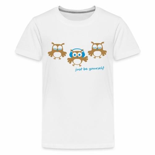 coole süße Eule tanzt Tanzen Kopfhörer Familie - Teenager Premium T-Shirt