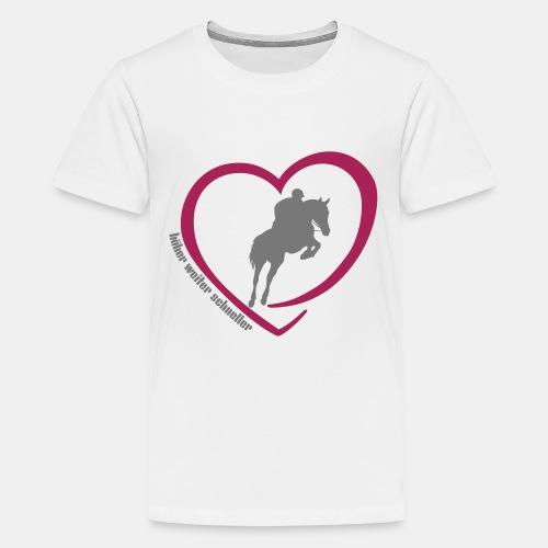 Springreiten höher weiter schneller - Teenager Premium T-Shirt
