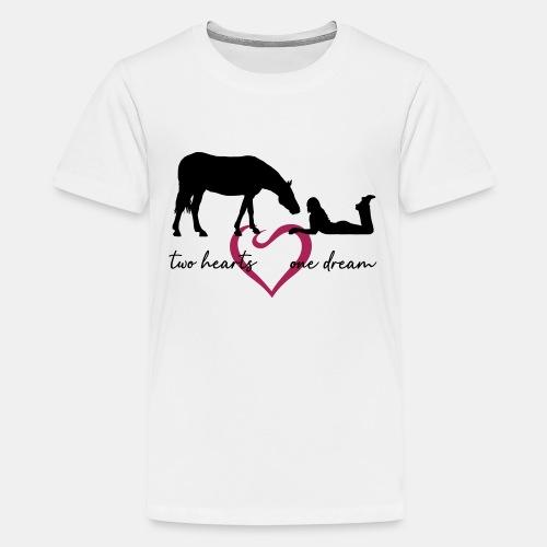 two hearts one dream liegendes Mädchen Pferd - Teenager Premium T-Shirt