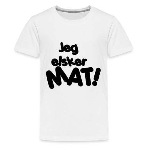 Jeg elsker mat - Premium T-skjorte for tenåringer