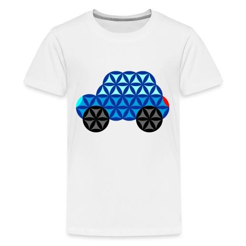 The Car Of Life - 01, Sacred Shapes, Blue. - Teenage Premium T-Shirt