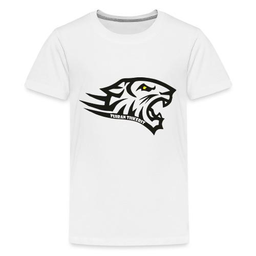 Tuiran Tiikerit tuoteperhe, pieni logo - Teinien premium t-paita
