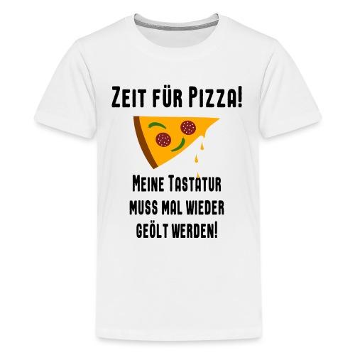 Pizza Essen Tastatur Computer Freak Nerd Spruch - Teenager Premium T-Shirt