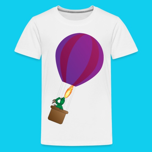 Lohikäärme kuumailmapallossa - Teinien premium t-paita