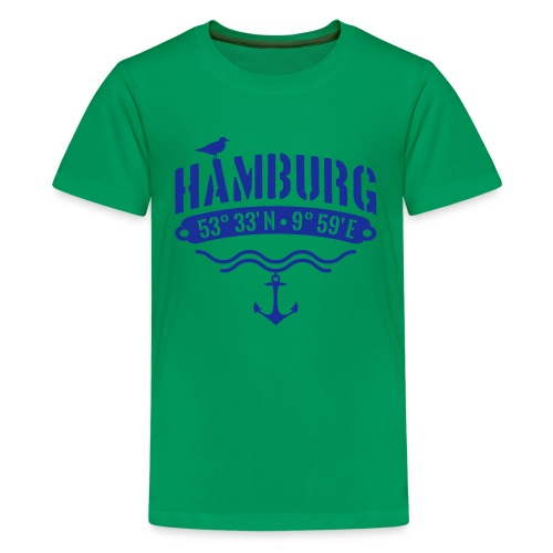 Hamburg Koordinaten Anker Möwe Längengrad - Teenager Premium T-Shirt