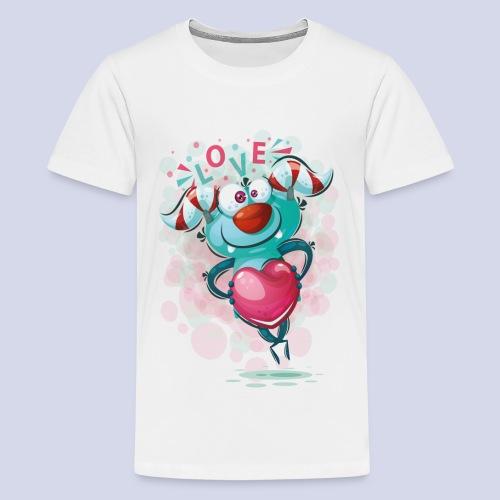 Monster cartoon love design - Teenage Premium T-Shirt