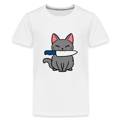 Fröhliche Katze mit Messer - Teenager Premium T-Shirt
